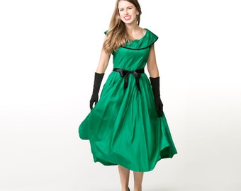 50s Green Taffeta Full Skirt Party Dress with Rhinestone Collar - Collette by Colonial S