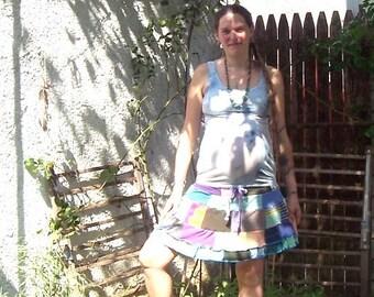 Dream Night Wind Skirt ~ Ecofriendly Gypsy Traveler ~ Patchwork Hippie Spinners Adjustable Drawstring Skirt