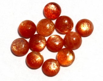 12 Pcs 4mm Natural Sunstone Round Cabochon / Gold Sparkling Flashy Fire Sun Stone Cabochon / Semiprecious Gemstone  SSN10