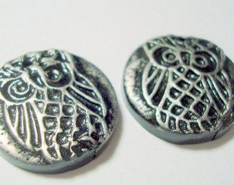Little Black and Silver Owls Polymer Clay Focal Beads