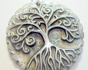 Winter Frost and Black Yggdrasil Tree of Life With Roots Handmade Polymer Clay Pendant or Focal Bead
