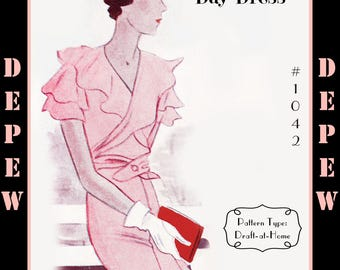Vintage Sewing Pattern 1930's Dress in Any Size Depew 1042 Draft at Home Pattern - PLUS Size Included -INSTANT DOWNLOAD-