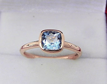 AAAA Natural Blue Aquamarine Untreated Cushion Cut   6x6mm  .85 - 1.0 Carats   in a 14K Rose gold Engagement ring. MMM
