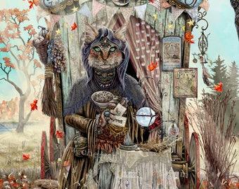 Gypsy Cat Fortune Teller - Gypsy Art - Gypsy Decor - Gypsy Print - Cat Art Print - Witch Art - Cat Artwork - Cat Lover Gift - Cat Witch