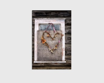 Rustic Dried Wreath Heart on Boarded Up Window Wrapped Canvas Wall Art
