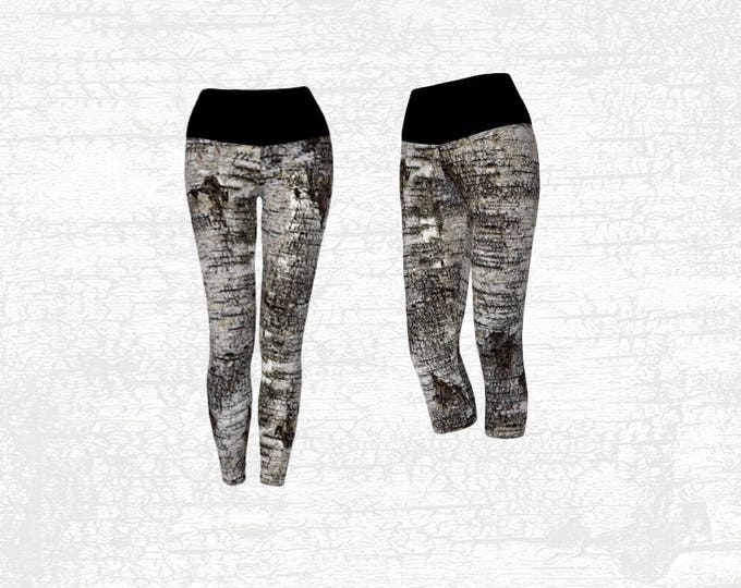 Yoga Leggings in a Natural Abstract Birch Tree Bark Pattern, Capri or Full Length Style