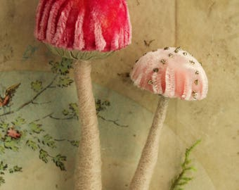 2 {Two} Pink Silk Velvet Toadstool Ornaments -  Needle Felted Wool Woodland Mushroom - Fairy House Terrarium Textile Mushroom