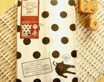 Kawaii Japanese Paper Gift Wrapping Bag - Dots Cats - Food OK
