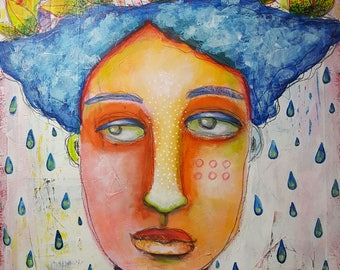 Original Painting Mixed Media Modern Folk Art Quirky Woman Face Pink Elephant Rainbow 140 lb Paper