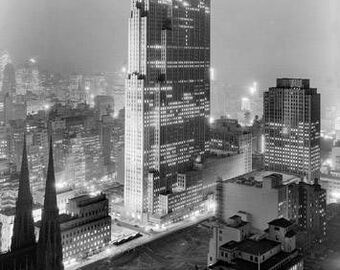 RCA Building At Night 1930's Photo