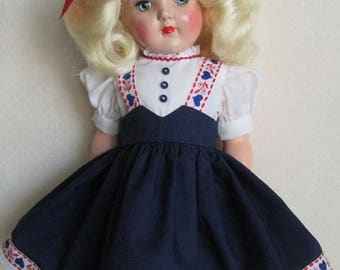 For 19 Inch P-92 Ideal Toni, Tyrolean Dress in Navy Inspired by Original