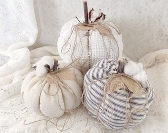 Shabby Cottage Chic Rustic Cotton Stem Blue Ticking, Cream, and Vintage Chenille Tattered Fall Holiday Fabric Pumpkins Set of 3
