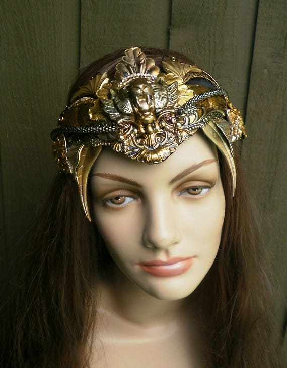 Gothic Steampunk Cat Crown Circlet in Patina Colors