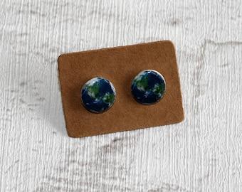 Globe Earrings, Teeny Tiny Earrings, World / Earth Jewelry, Cute Earrings