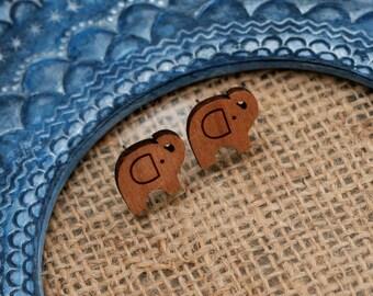 Elephant Earrings, Wooden Elephant Stud Earrings