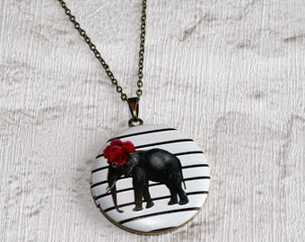 Elephant Locket Necklace, Grey Elephant Necklace, Safari Jewelry