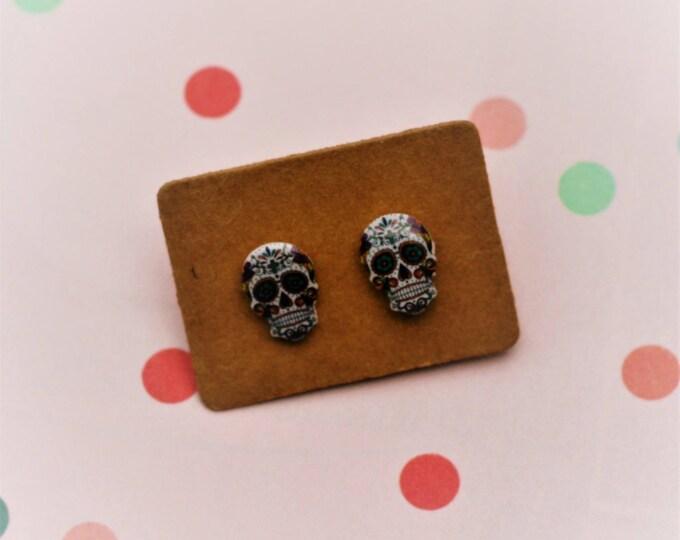 Skull Earrings, Teeny Tiny Earrings, Day of the Dead Jewelry, Cute Earrings