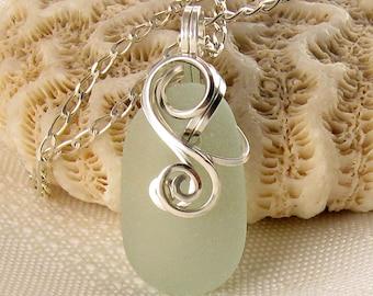 Sea Glass Necklace - Beach Glass Pendant - Sea Glass Jewellery - Beach Glass Necklace - Wire Wrapped - Beach Glass Jewelry - Sterling