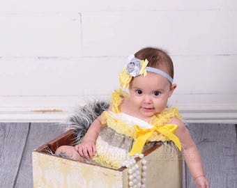 2 piece Gray Yellow Petti Romper Set,Lace Petti Rompers,Headband and romper,Baby Girl Photo Props outfits,Newborn lace outfit,baby sets