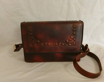 Tooled Dark Brown Leather Purse with Flowers