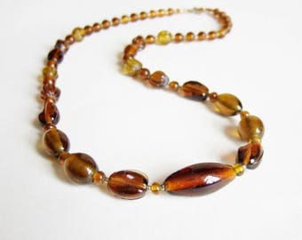 Brown and Amber Glass Bead Necklace - Vintage Chunky Graduated Glass Beads in Autumnal Shades - Medium Length 23 inches long.