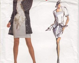Vintage Pattern Vogue 2085 Individualist Betty Jackson Misses'Dress 80s Size 12 B34