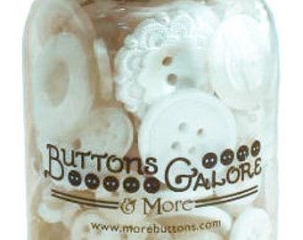 Buttons Galore Antique White Button Jar