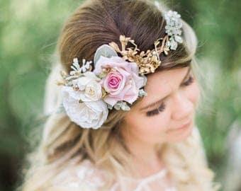 bridal headpiece, bridal flower crown, wedding hair, pink and gold wedding headpiece, rose flower crown, honeysuckle, floral crown wedding