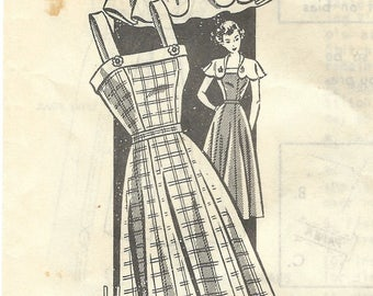 1940s Mail Order 8467 Vintage Sewing Pattern Misses Sundress, Button On Cape Size 14 Bust 32