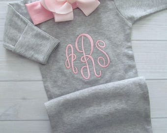 Baby Girl Coming Home Outfit Personalized Gown Optional Bow Headband Newborn Girl Embroidered Monogram Baby Shower Gift Baby Girl Clothes