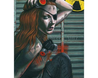 Fallout ORIGINAL PAINTING Post-Apocalyptic Apocalypse Fallout Shelter Nuclear War Gas Mask Portrait Acrylic Gouache Fantasy Art