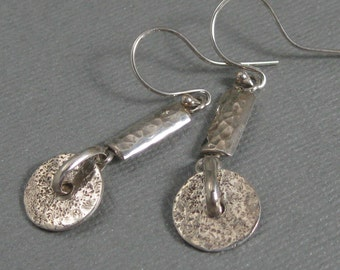 Rustic hand forged distressed sterling silver boho dangle earrings, textured silver drop earrings