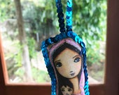 Young Madonna with Child - Original Art Mini Pillow with Sequins  Handmade Christmas Tree Decoration -  by FLOR LARIOS