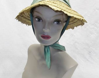 50s 60s Vintage Straw Beach Sun Hat with Aqua Color Chin Tie Size 23 Needs TLC