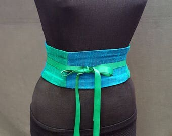 Jewel Tone Blue and Green Dupioni Silk Waist Cincher Corset Belt Obi
