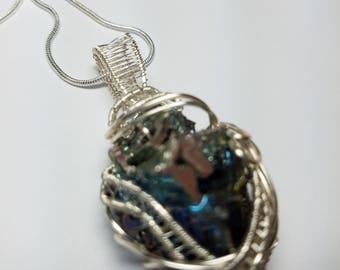 Bismuth Crystal Wire Wrapped Pendant necklace  Blues Free Shipping  Non Tarnish Silver