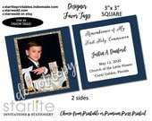 First Communion Favor Tags Boys, Large 3x3 square tags, Navy Blue Gold Glitter Photo Remembrance Cards, Communion Favors Family and Guests