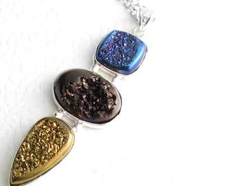 Long Brown Drusy Pendant, Blue & Gold Stone Necklace, Titanium Druzy Jewellery