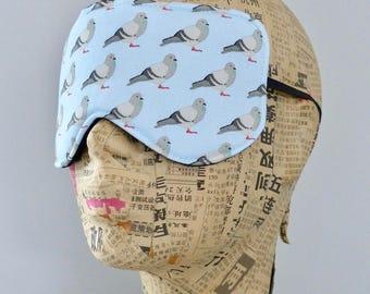 Sleep mask in a cotton pigeon print. Pigeon eye mask.