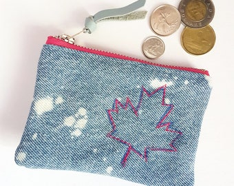 CANADA150. Maple Leaf. Denim Change Purse. Canada. Upcycled Denim. Bleached Denim. Jean Pouch. Leather Coin Purse. Ready To Ship.