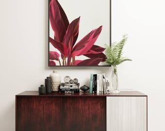 Leaf Print, Minimal Botanical Art, Gift for Gardener, Kitchen Wall Art - Red Leaves II