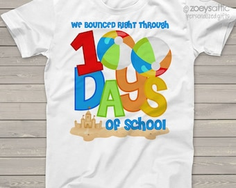 Teacher shirt -  100 Days of school - beach themed beach balls sand castle one hundred day shirt for teachers  mscl-113