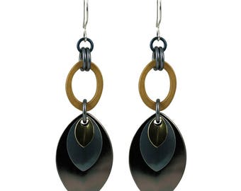 Mixed Metal Monochrome Musings Earrings with Gunmetal, Gold and Bronze