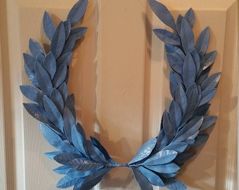 Year-round Everyday Baby Boy BLUE Laurel Bay Leaf Crest Wreath  Peace Honor Victory Wedding Olympic Holiday Birthday Faux Artificial