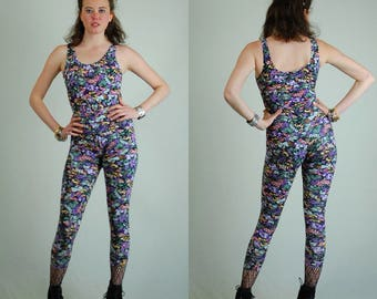 Leotard + Legging Set Vintage 80s Black Floral Made in the USA Leotard And Pant Legging Set  Work Out Wear (s)