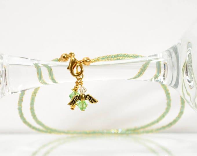 Angel Anklet Charm Ankle Bracelet 10 inch Anklet Angel Ankle Bracelet Green Anklet Angel Jewelry Handmade Anklet