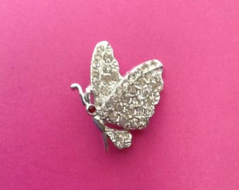 Vintage Rhinestone Butterfly Brooch Pin jewelry Moth Insect