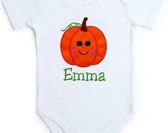 Embroidered Halloween Pumpkin Onesie Bodysuit for Baby Girls - Your Custom Name  WHITE ONESIE