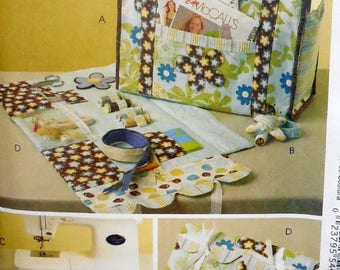 McCall's 5871 - Cute Sewing Accessories - Project Tote, Sewing Organizer, Wrist Pincushion, Machine Apron Storage - DIY Gift Idea - UNCUT