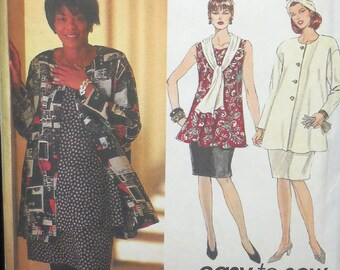Simplicity 9121 - Curvy Easy Sew Outfits - Jacket, Top, Skirt - Office, Professional - Sz  26, 28, 30, 32 - UNCUT - Plus Size Office Fashion